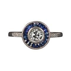 GIA Art Deco Old European Diamond and Blue Sapphire Halo Ring