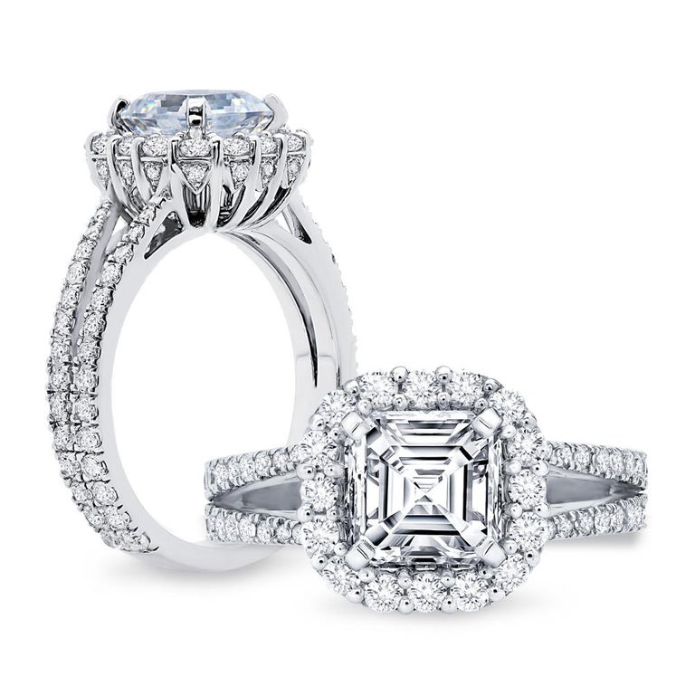 French Cut GIA Asscher Cut Diamond Engagement Ring Platinum 950 For Sale