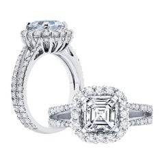 GIA Asscher Cut Diamond Engagement Ring Platinum 950