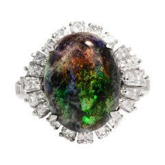 GIA Black Opal Diamond Platinum Ballerina Cocktail Ring