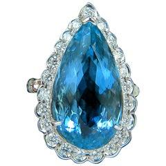 GIA Blue 18 Karat 17.78 Carat Natural Brilliant Gem Aquamarine Diamond Ring VS