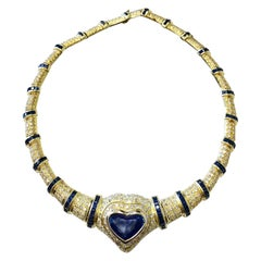 GIA Blue Sapphire Heart and White Diamond Necklace in 18 Karat Yellow Gold