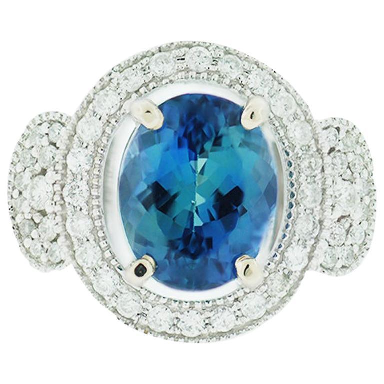 GIA Blue Tanzanite and Diamond Halo Ring 2.87 Carat