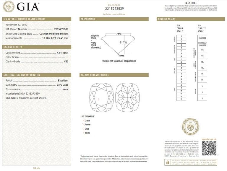 Cushion Cut GIA Brilliant Cushion 4.65 Carat Diamond Ring For Sale