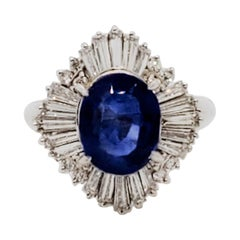 GIA Burma Blue Sapphire Oval and White Diamond Cocktail Ring in Platinum
