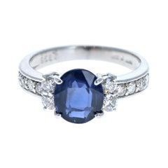 GIA Burma Platinum Natural No Heat Sapphire & Diamond Ring 2.89ctw 5.4g