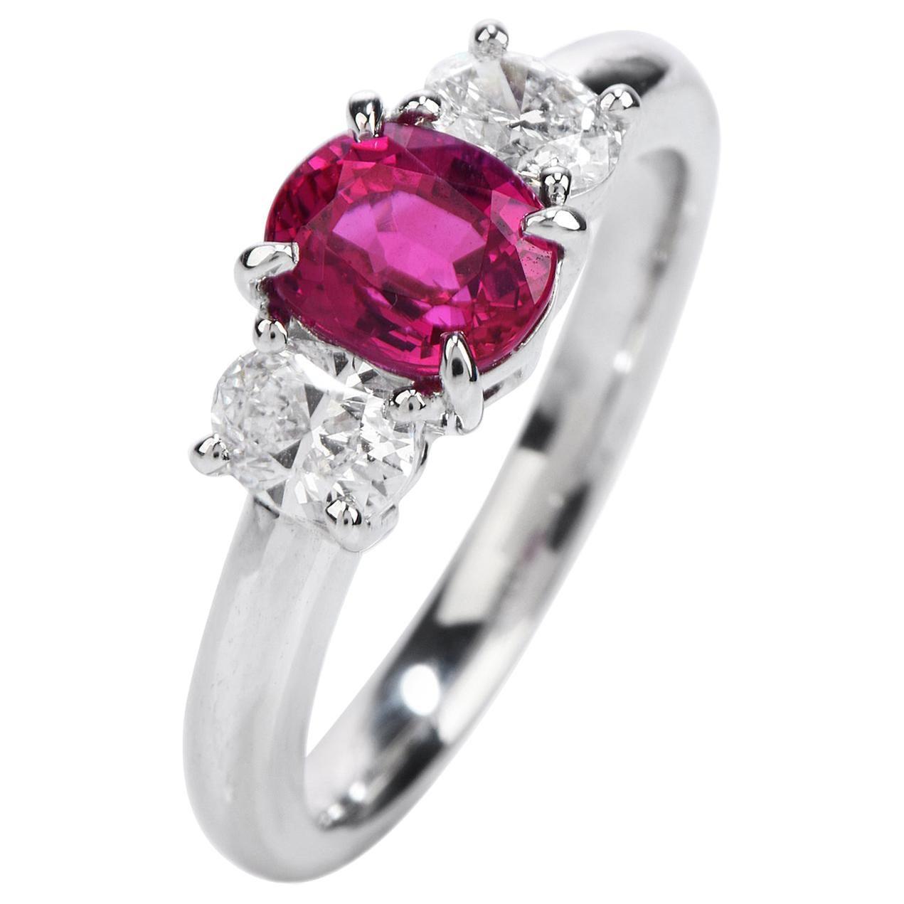 GIA Burma Ruby Diamond Platinum Three-Stone Engagement Ring