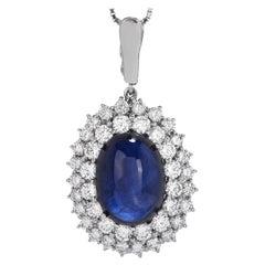 GIA Cabochon Large Blue Sapphire Diamond PlatinumDouble Halo Dangle Pendant