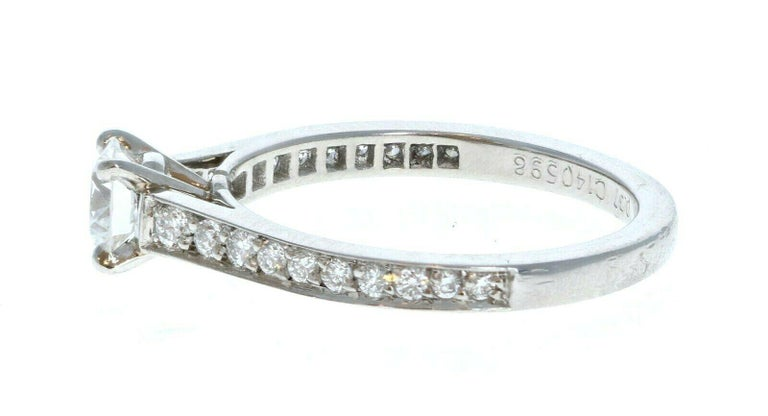 GIA Cartier Platinum & Diamond Ring 0.52ctw Size 47 With Papers  For sale is a Cartier platinum and diamond ring.  The center stone is a  0.37 ct round brilliant cut diamond F, VVS1 The mounting is comprised of approx. 0.15 ctw  Perfect worn day or