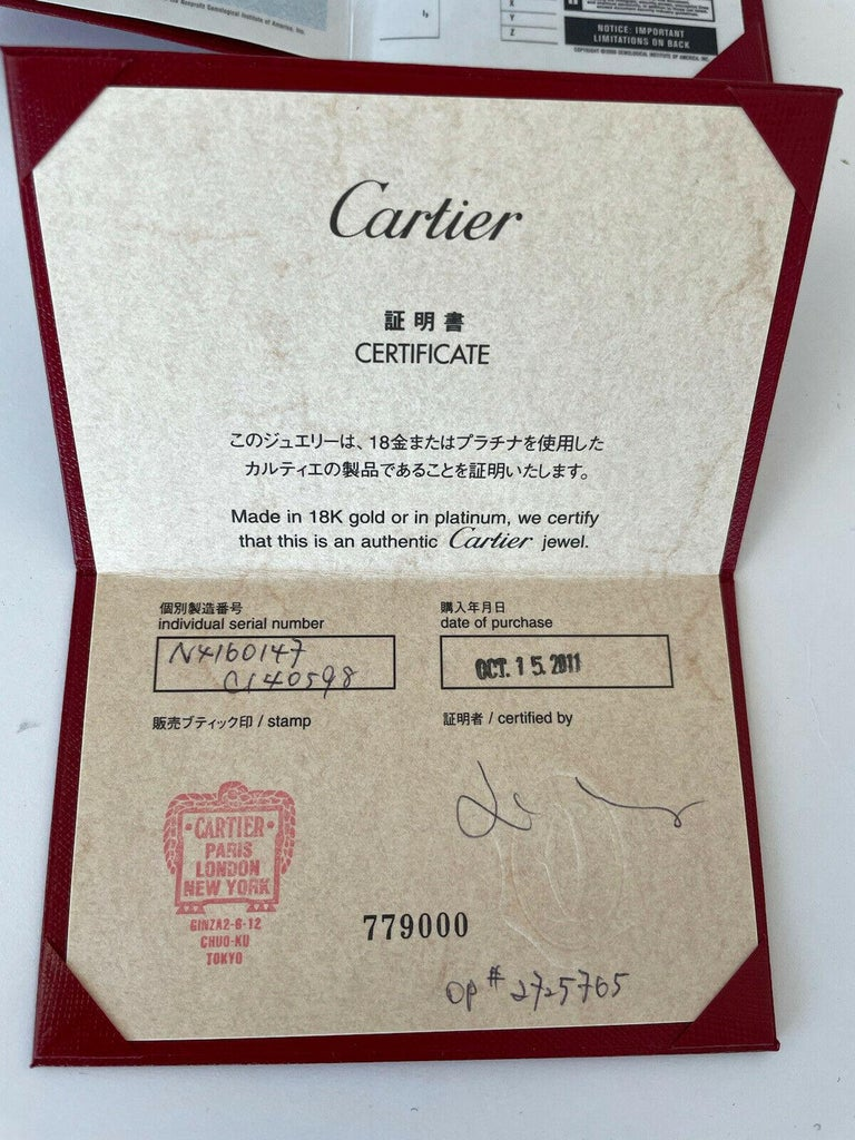 Round Cut GIA Cartier Platinum & Diamond Ring 0.52ctw with Papers F VVS1 For Sale
