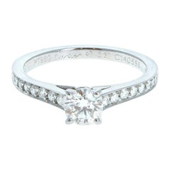 GIA Cartier Platinum & Diamond Ring 0.52ctw with Papers F VVS1