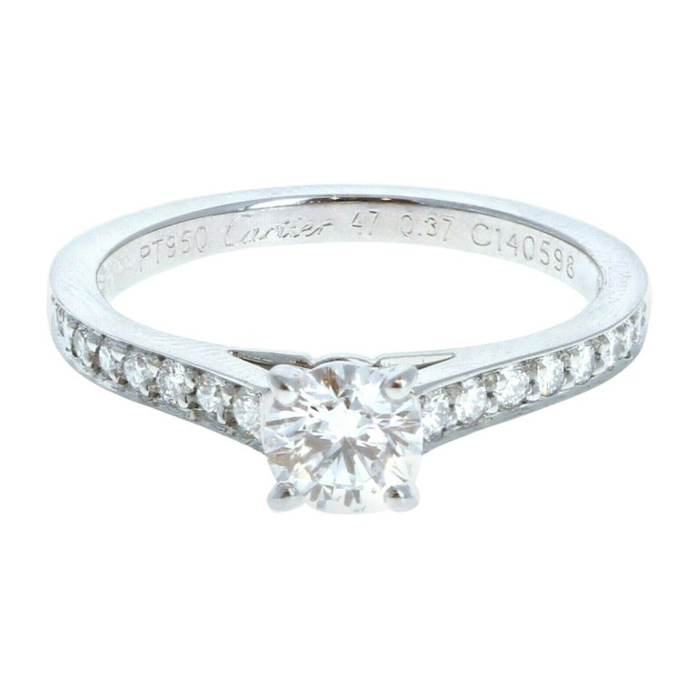 GIA Cartier Platinum & Diamond Ring 0.52ctw with Papers F VVS1 For Sale