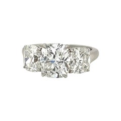 GIA Cert, 3 Stone, 2.02ct. Cushion Center, F Color Diamond Ring
