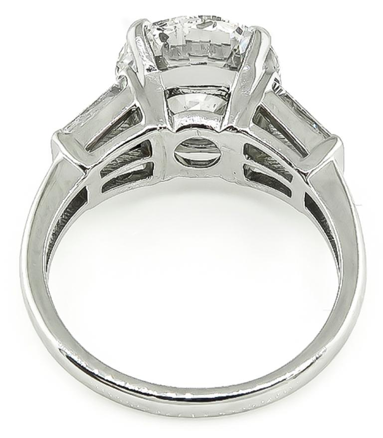 Round Cut GIA Certified 4 Carat Diamond Platinum Engagement Ring For Sale
