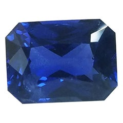 GIA Cert. 4.61 Carat Gem Quality Emerald Cut Heated Blue Sapphire Loose Stone