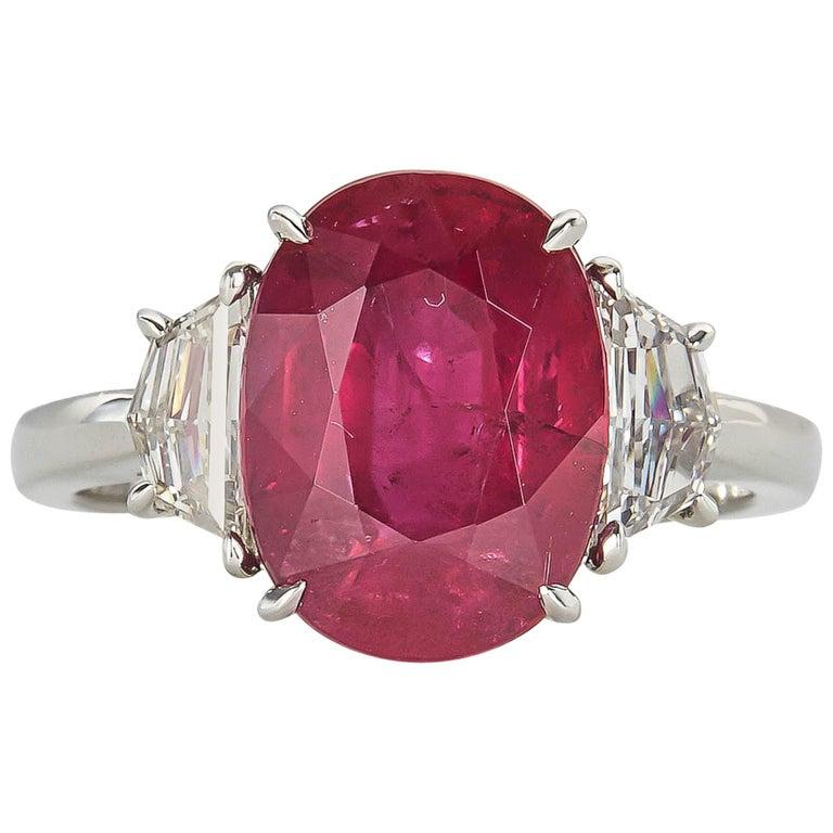 GIA cert 5.33 Carat Ruby Diamond Platinum Cocktail Ring For Sale