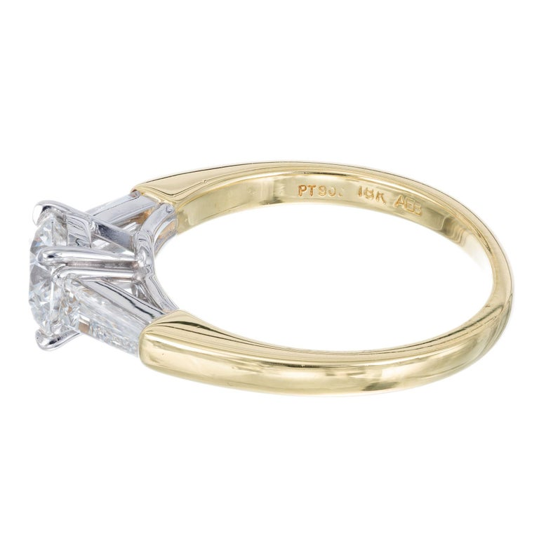 Round Cut GIA Certified .90 Carat Diamond Baguette Three-Stone Gold Platinum Ring For Sale