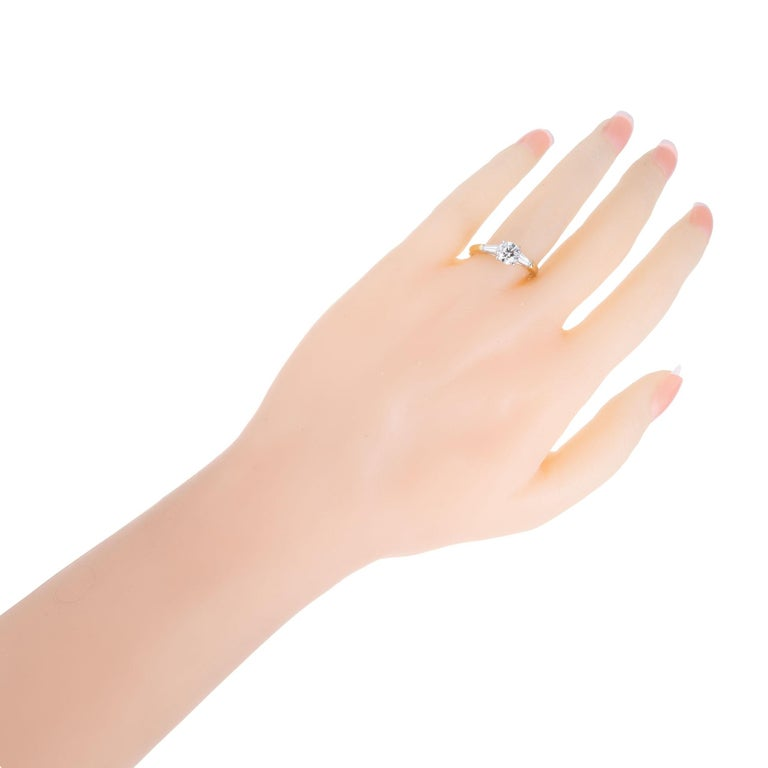 GIA Certified .90 Carat Diamond Baguette Three-Stone Gold Platinum Ring For Sale 1