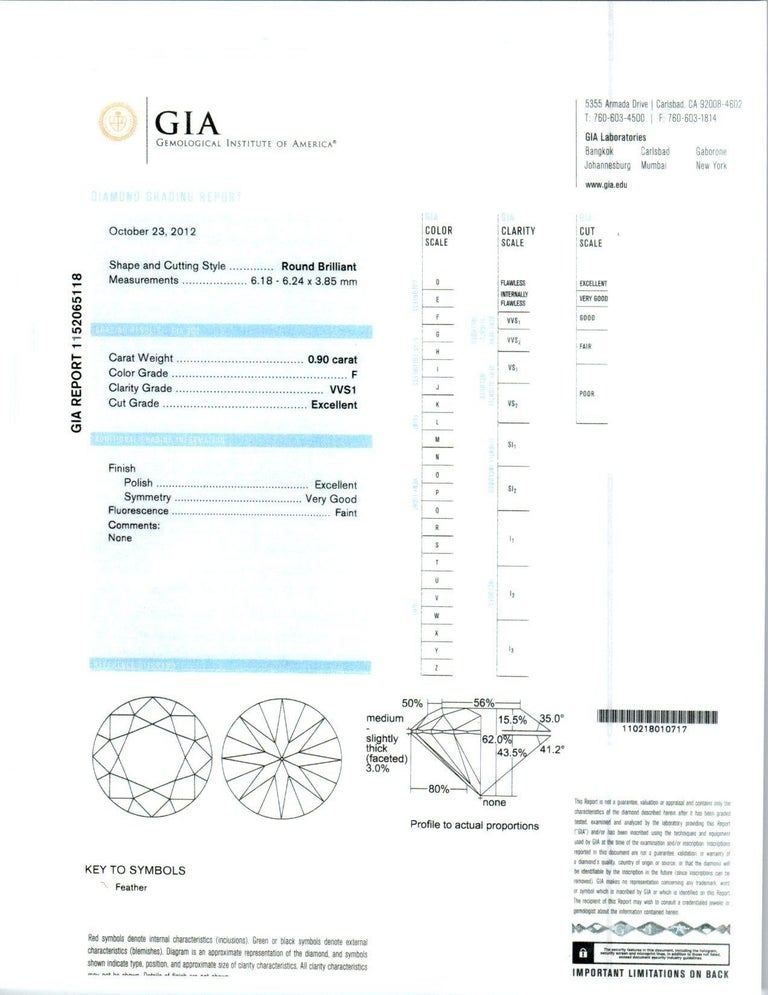 GIA Certified .90 Carat Diamond Baguette Three-Stone Gold Platinum Ring For Sale 2