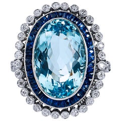 GIA Cert Art Deco Style 10.54 Carat Aquamarine Diamond Platinum Cocktail Ring
