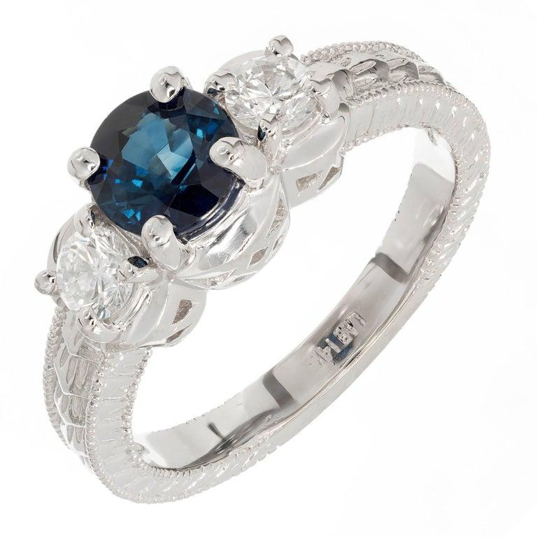 GIA Certified 1.38 Carat Blue Sapphire Diamond Gold Three-Stone Engagement Ring