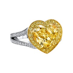 GIA Cert Fancy Light Yellow Heart 4.41 CT 18KY/Platinum Necklace and Ring