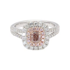GIA Cert Natural Pink-Bn Cushion w/ White & Pink Diamonds 1.22 Cts Total 18k