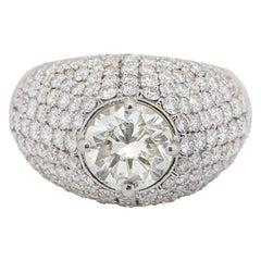 GIA Cert Round Cut Diamond Bomb Ring 1.67 Carat Center 3.03 Carat Setting