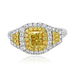 GIA Certfied Natural Fancy Yellow Diamond Double Halo Two-Color Gold Bridal Ring