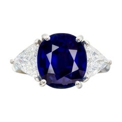 GIA Certifed 3.75 Carat Royal Blue Sapphire Diamond Three Stone Ring