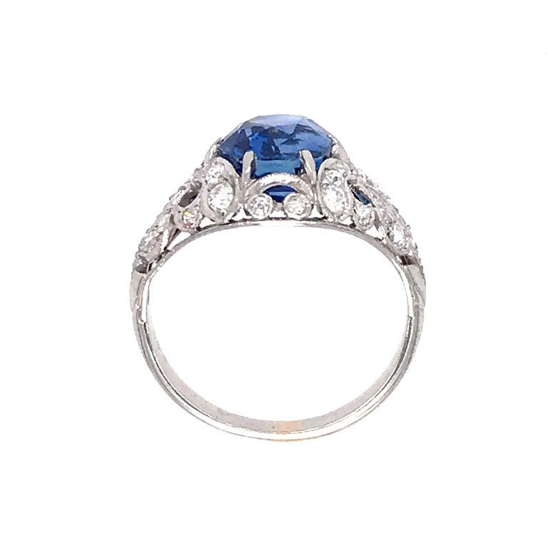 Platinum Sapphire: 3.55 ct TW GIA Report Number: 6203700180 Sapphire Cut: Oval - Brilliant Cut Color: Blue - No heat Origin:  Sri Lanka Diamond: 0.60 ct twd Ring Size: 5