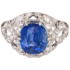 GIA Certifed Vintage No-Heat Natural Sapphire and Diamond Ring