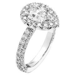 GIA Certificate 1.51 Carat Pear Shape Diamond Engagement Ring