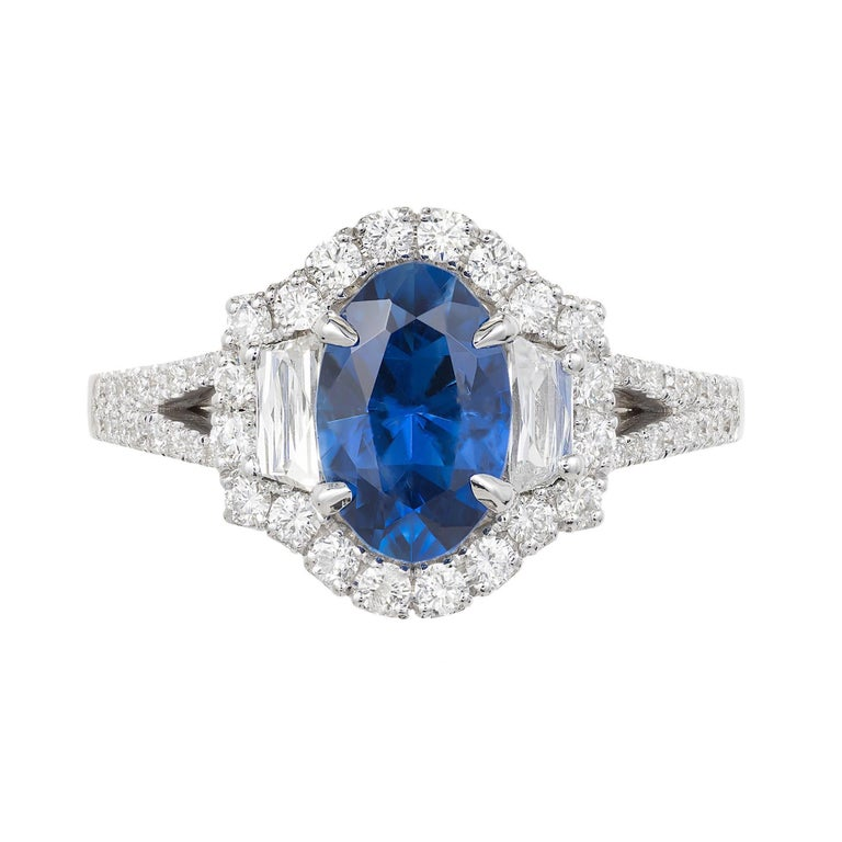 GIA Certified Peter Suchy 1.82 Carat Sapphire Diamond Gold Engagement Ring