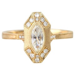 GIA Certificated 0.33 Carat Marquise Cut Diamond Vintage Style Ring