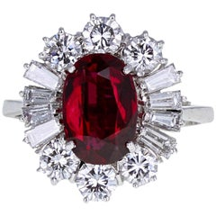 GIA Certificated Ruby and Diamond Cluster Cocktail Ring