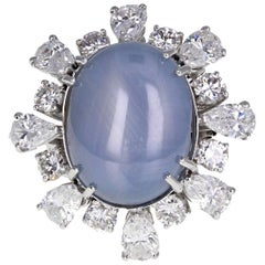 GIA Certificated Unheated Star Sapphire Diamond Cluster Ring