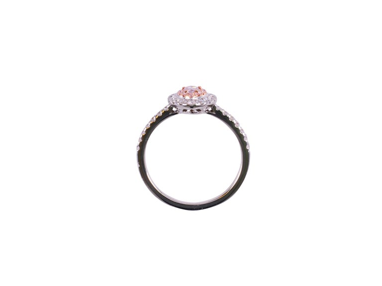 Pear Cut GIA Certified 0.18 Carat Light Pink Pear Shape Halo Diamond Ring For Sale