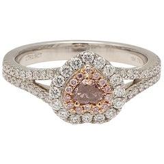GIA Certified 0.19 Carat Natural Pink Heart Shape Diamond Halo White Gold Ring