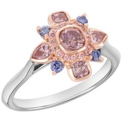 GIA Certified 0.27 Carat Pink Diamond Accented by Rare Violets and Pink Diamond