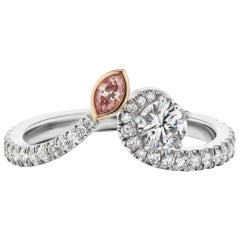 GIA Certified 0.30 D VVS1 and Argyle Pink Diamond Bypass Ring