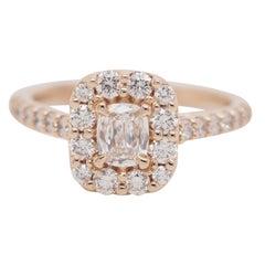 GIA Certified, 0.32 Carat, A. Jaffe Rose Gold Diamond Cushion Ring