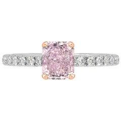 GIA Certified 0.35 Carat Radiant Cut Pink Diamond Ring