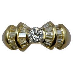 GIA 0.38 Carat E Color Diamond Contemporary Ring in 14 Karat Yellow Gold