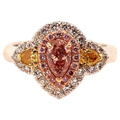 GIA Certified 0.38 Carat Natural Pear Pink Diamond Cocktail Gold Engagement Ring