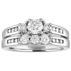 GIA Certified 0.40 Carat Diamond Gold Engagement Band Set