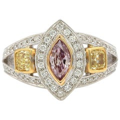 GIA Certified 0.40 Carat Pink Diamond with Yellow Diamond Ring