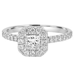 GIA Certified Princess Diamond Halo 0.90 Carat Total Weight Gold Engagement Ring