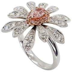 GIA Certified 0.42 Carat Fancy Orangy Pink Diamond Flower Cocktail Ring