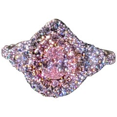 GIA Certified 0.43 Carat Fancy Pink Diamond Handcrafted Ring